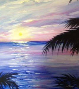 "Yes! We will be painting this beautiful picture, ""Caribbean Sunrise,"" under the instruction of the amazing Sue Roop. If I can do it, anyone can!"