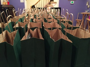 Lots of Swag in lots of Bags. Thanks to my helpers: Molly, Martin, Stan, Len & Susan!