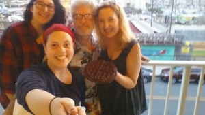 Remember my last blog about waffles on vacation? Well here we are with the brownie waffle I made, just before we shared it. Front: Jae; Back l to r: Jardin, Stan, me.