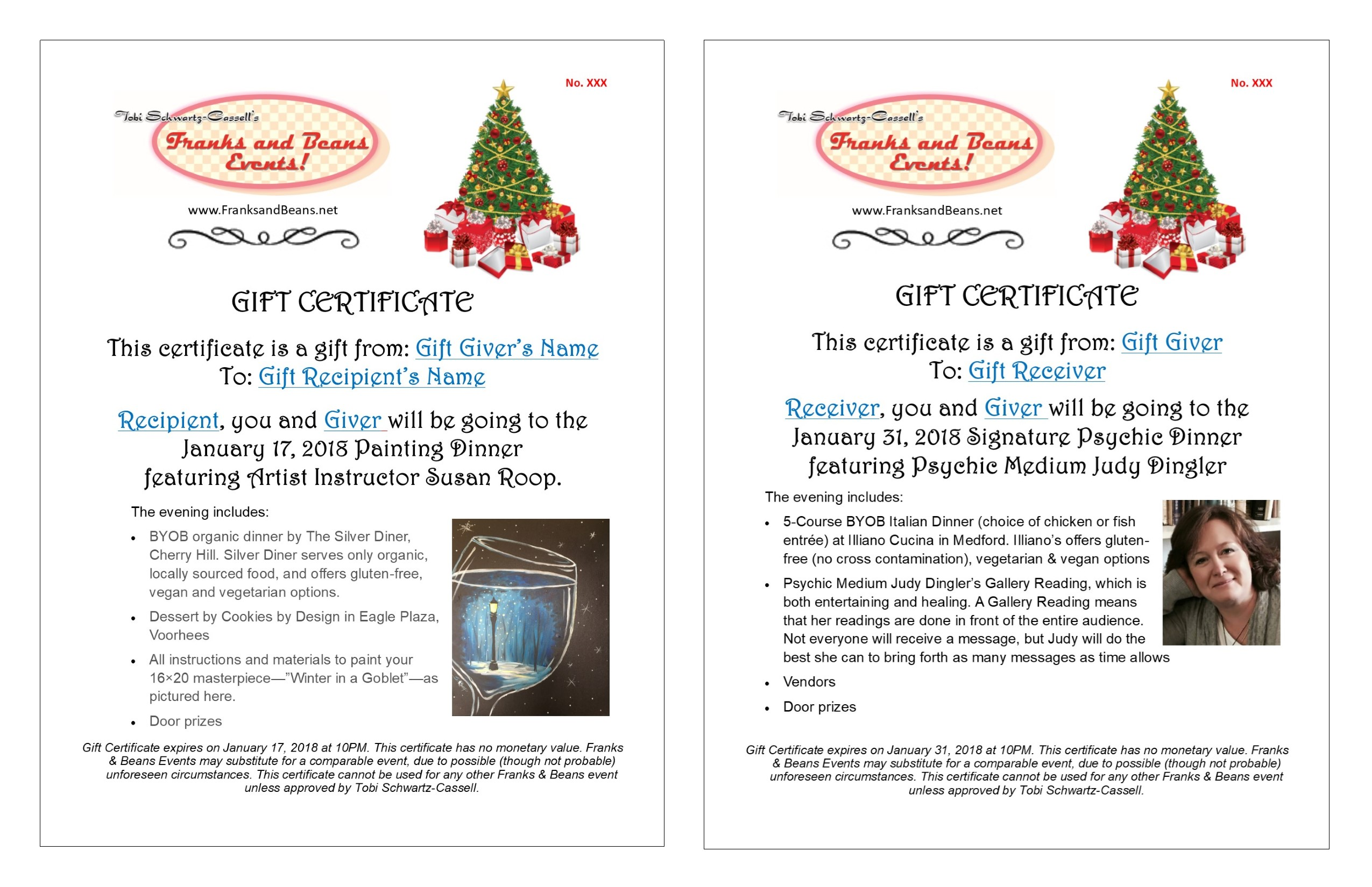 Gift her a gift certificate to our Painting Dinner or Signature Psychic Dinner
