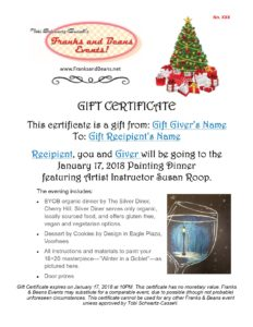 Gift her a Gift Certificate to a Painting Dinner