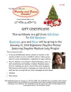 Gift her a Gift Certificate to our Signature Psychic Dinner